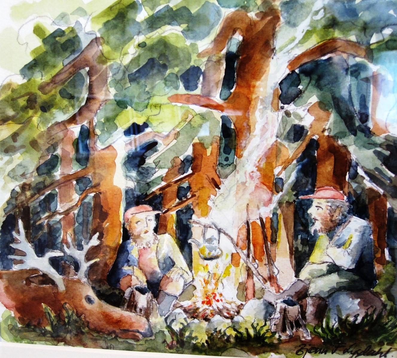 Betenkte jegarar, akvarell, Bjønn Fauske Lysdahl