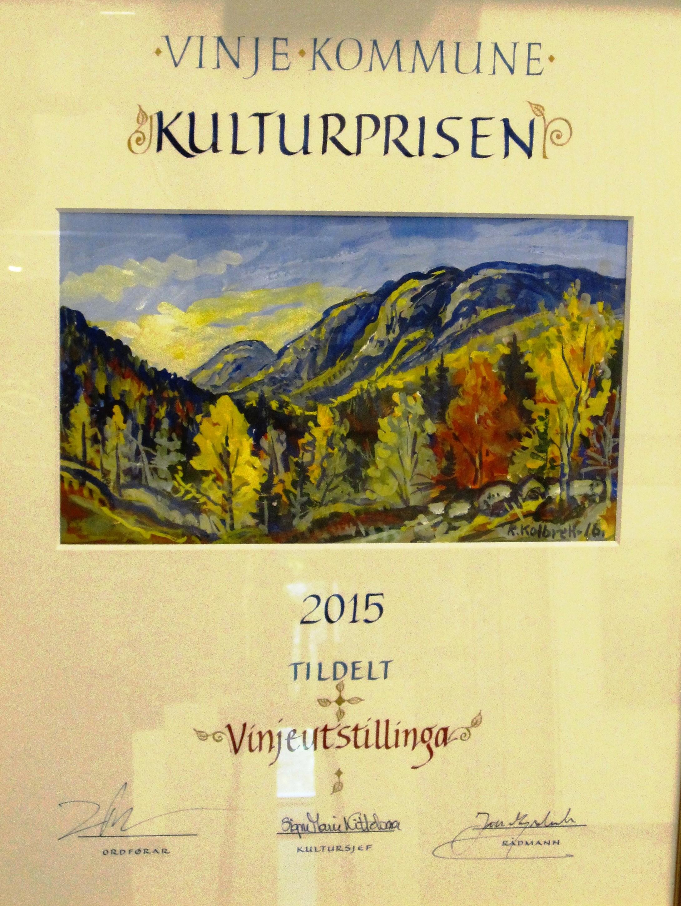 Vinjeutstillinga fekk Vinje kommune sin kulturpris for 2015!